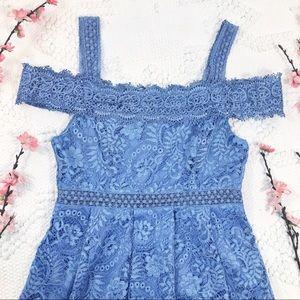 Francesca's Cold Shoulder Periwinkle Lace Dress